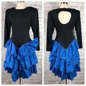 Vintage 80s Black and Blue Long Sleeve Dress